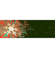 Green christmas banner with red ornaments vector