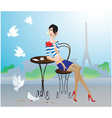 Cute young girl in paris street cafe vector
