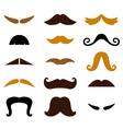 Set of retro colorful mustaches isolated on white vector