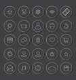 White line website icons set vector