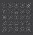 White line website icons set vector