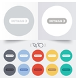 Details with arrow sign icon more symbol vector