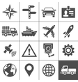 Transportation icons set simplus series vector