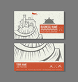 Business card template castle on the mountain vector