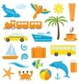 Bright cartoon travel icons vector