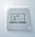 Glass square icon laptop with customer support vector