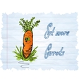 Funny carrot cartoon on blue background vector
