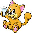 Cat and milk glass vector