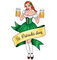 Beer girl lines vector