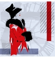 Retro the woman in a red coat vector