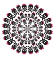 Skull with a pink bow on white background circular vector