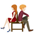 Faceless couple sitting back to back vector