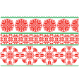Red and green flowers ornament vector