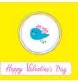 Cute blue bird happy valentines day vector