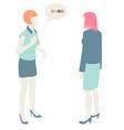 Women and men communicate flat design pastel vector
