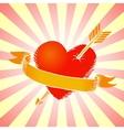 Retro heart with ribbon vector