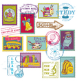 Set of school stamps vector