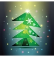 Green christmas fir tree on colorful background vector
