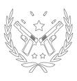 Pistol emblem with bullets line-art vector
