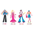 4 girls pop star movie star rock star and little vector