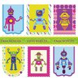Set of tags - cute little robots vector