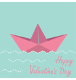 Origami paper boat happy valentines day card vector