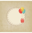Gift on colored balloons retro striped background vector
