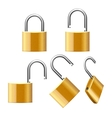 Set of padlocks open and closed vector