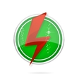 Red power sign on the green circle vector