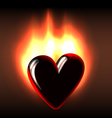 Burning black heart vector