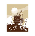 Galleon sailing ship at sea vector