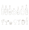 Sketch of wine bottles vector