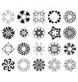 Set of black round design elements vector