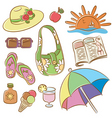 Summer female vacation icons set vector