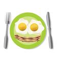 Fried egg plate vector