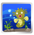 A sea horse underwater background vector