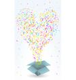 Paper box and confetti vector