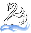 Swan with crown silhouette on lake vector