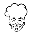 Old japanese chef with a goatee and moustache vector