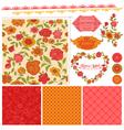 Scrapbook design elements - orange flowers vector