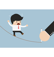 Businessman walking on rope and hand with pen draw vector