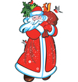 Santa claus with christmas tree a bag vector