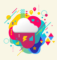 Cloud on abstract colorful spotted background with vector