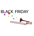 A symphonic trombone blowing black friday flag vector