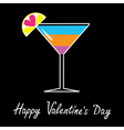 Cocktail in martini glass happy valentines day vector