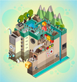 Flat 3d isometric board game with city building vector