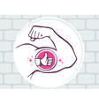 Strong man hand with icon of thumb up on vector