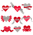 Valentines day heart labels tags ribbons frames vector