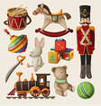 Set of colorful vintage christmas toys for kids vector