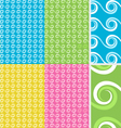 Abstract wave seamless pattern set vector